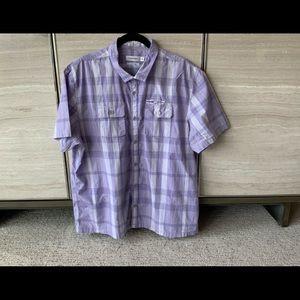 Calvin Klein Size XL Lavender & White Plaid Shirt